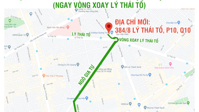 Thông báo thay đổi địa điểm