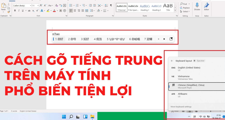 Cách gõ tiếng Trung trên máy tính phổ biến tiện lợi